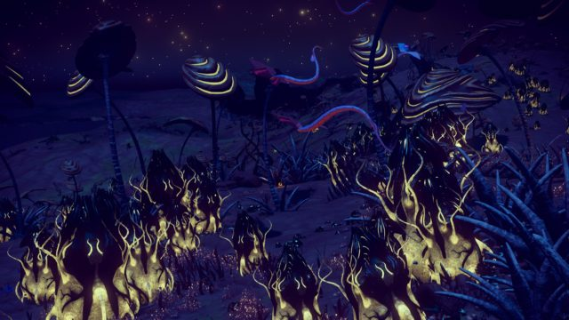 The planet at night with bioluminescent infested plants and purple-blue long-tailed butterflies