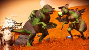 Two large carnivorous animals stand as if posing for the camera. They are green, bipedal lizards, like dinosaurs. One has gill-like fins on its back. The other has a friendly-looking bird's beak and looks like it's smiling. The world around them is a lush orange.