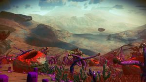 A reddish, dry alien landscape, looking down from a ridge to a flat, wide valley. The ridge is spotted with strange plants, like twisting purple tentacles and short green cacti. A few large bowl-shaped rocks are rimmed with bright red fungus.
