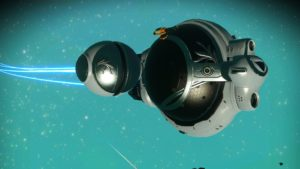 This exotic spaceship is shaped like a grey ball with two smaller balls (thrusters) on either side.