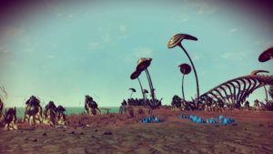 Flat brown alien landscape with green ocean in the background. The foliage is towering mushrooms and strange, eggsac-like glowing plants and bone-like, twisting sculptures.