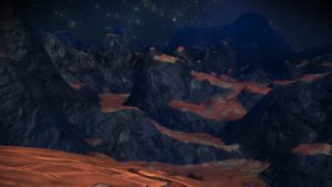 Rocky, jagged mountains against an airless starry sky.