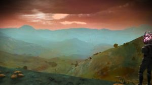 Screenshot of a moody, raining alien landscape with craggy hills and little vegetation. The hills are a muddy green. The sky is rolling red clouds and mist rises in the distance