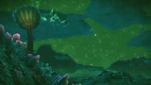 Shows a mountainous green alien landscape at night. There are mushrooms and funguses growing on the steep cliff. The largest mushroom, as big as a parasol, is gives off a glowing green light.  The skies are starry and green.