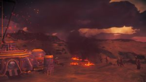 Shows a dry, bleak alien landscape in the middle of a firestorm. Everything is tinted red and covered with burning embers. Fires are burning. There's a transmission tower covered in smoke.