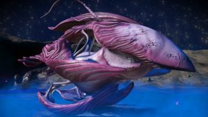 This living ship has pink skin and magenta accents. It has a fin attached to its long pointed faceplate. Its upper and lower wings are curved. The lower wings rest on the ground.