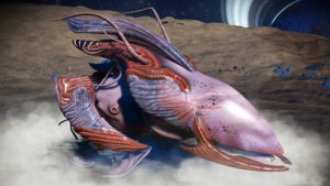 This living ship has a rosy pink skin and two accent colours, dusty purple nad cherry red. It has a dusty purple fin and a red jaw attached to its long pointed faceplate. Its upper wings are curved and its lower wings are small and segmented.