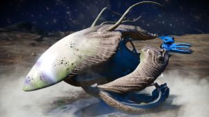 This living ship has a bone white skin and light brown grey accents. Its faceplate is long and pointed. Its wings are curved.