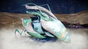 This living ship has pale teal skin and two accent colours, white and jade green. It has a white fin and a long pointed faceplate. It has curved upper wings. Its lower wings are curved and touch the ground.