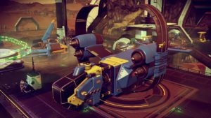 Impressive blue and yellow hauler with twin thrusters and high circular fins