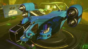 Tilted turquoise hauler with high thrusters