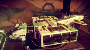 Green and white-beige hauler with box attachments