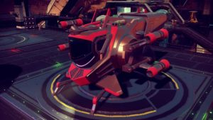 Red and black insectoid explorer with tight directional thrusters